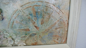 compass in mixed media painting