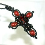 Black and red cross pendant, glass pearls/crystals/ beads