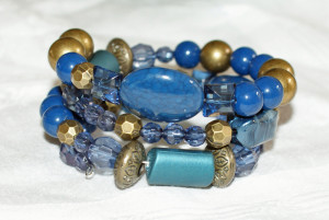 Blue and Antique Bronze Bracelet