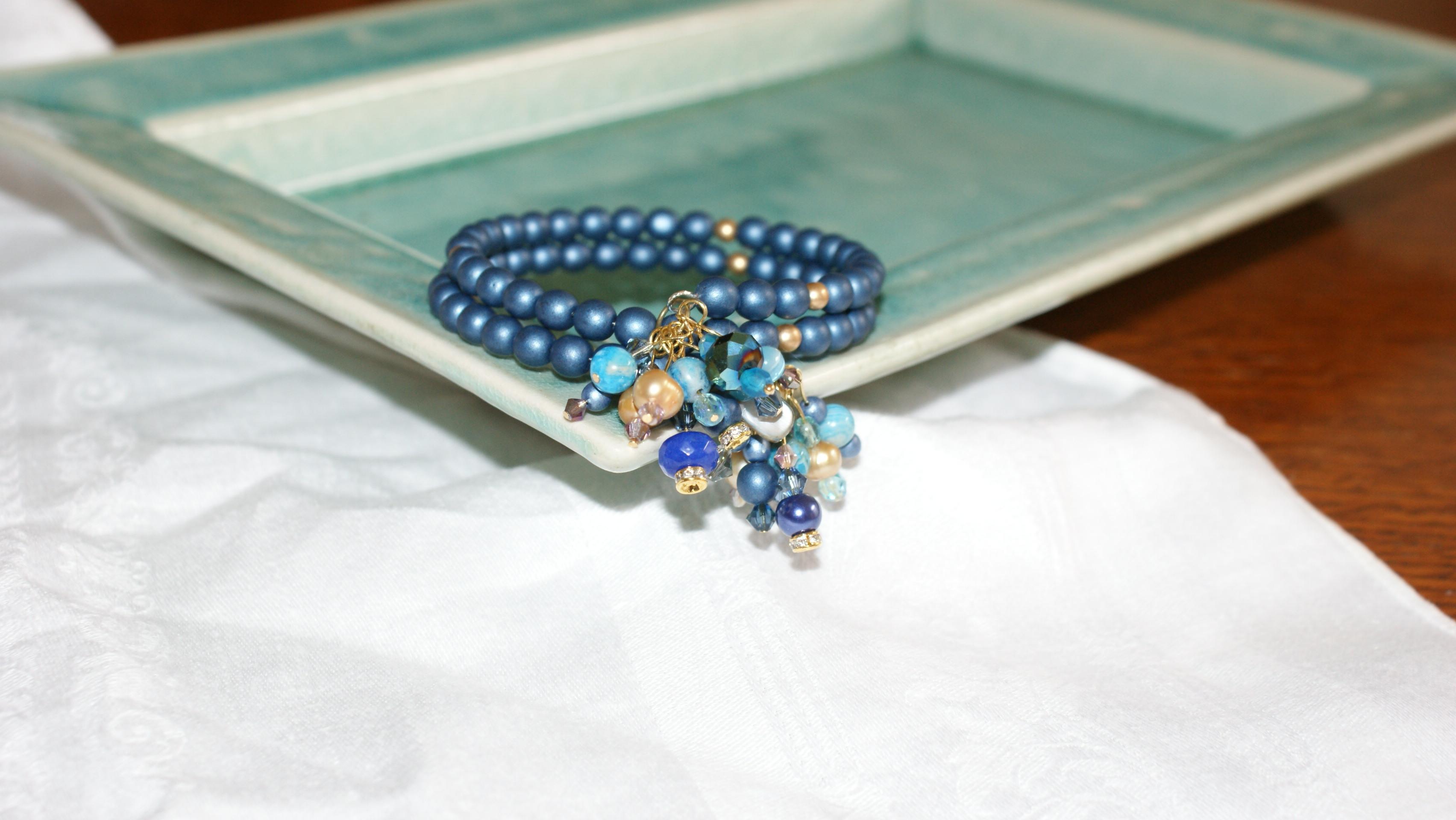 Blue bracelet with dangles
