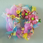 Spring Wreath, baby shower wreath, Pink and blue handmade wreath