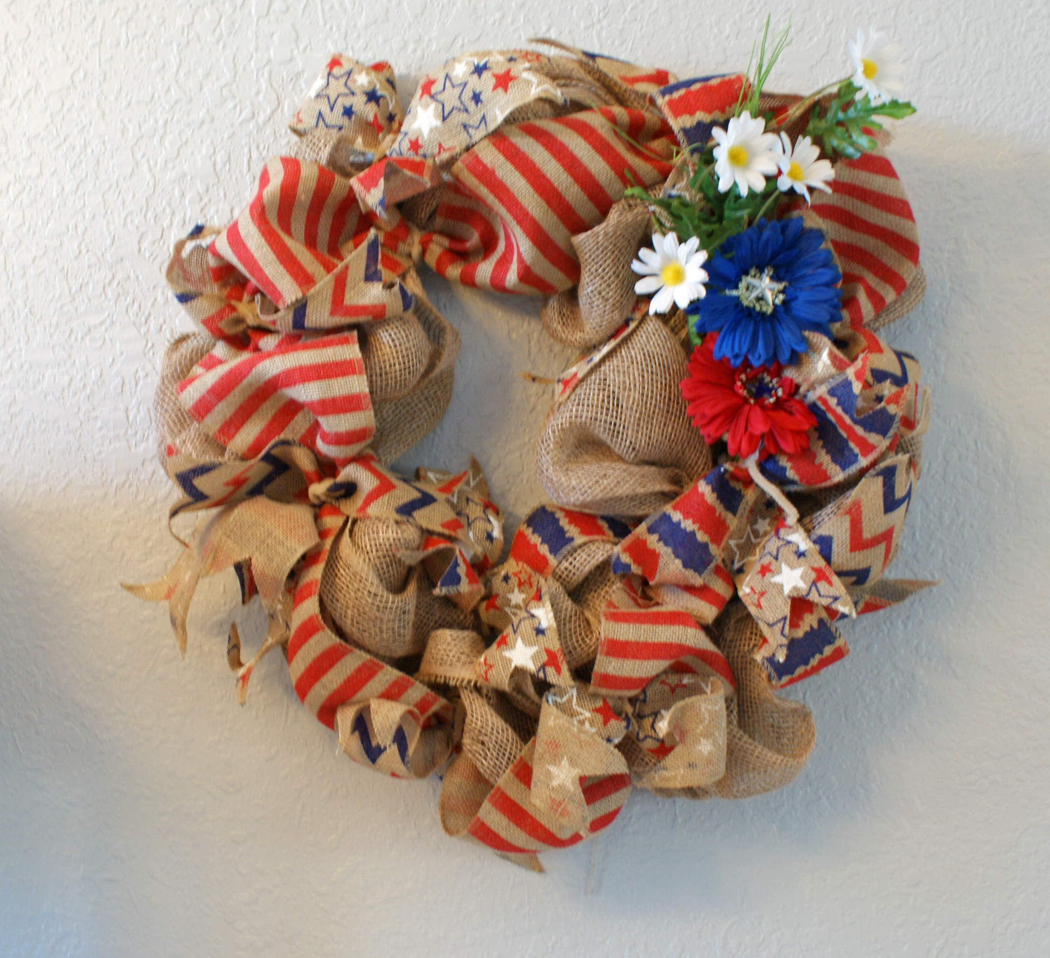 Patriotic Burlap Wreath Handmade