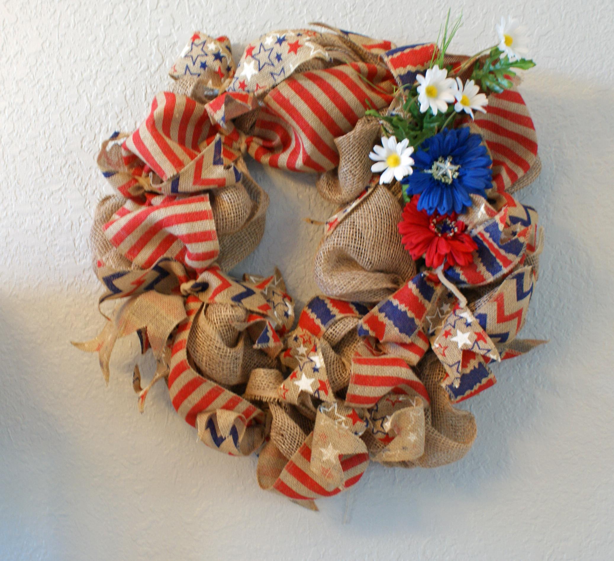 Patriotic Burlap Wreath Handmade