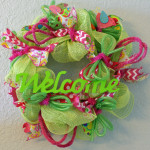 Handmade wreath pink and green