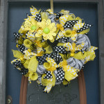 Yellow White and Black handmade Wreath