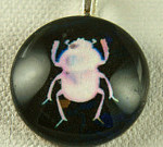 White Beetle on Black Handmade Pendant