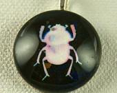 White Beetle on Black Handmade Pendant